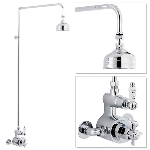 """Traditional Twin Exposed Shower Valve & Rigid Riser Kit w 4"""" Apron Fixed Shower Large Image"""