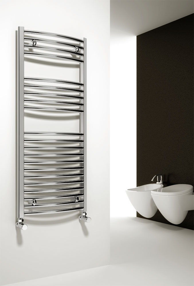 Reina Diva Curved Towel Rail - Chrome profile large image view 1