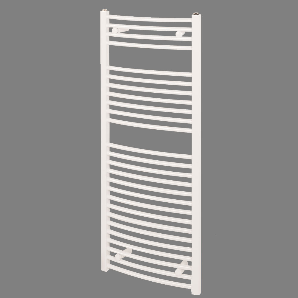 Reina Diva Curved Towel Rail - White Large Image