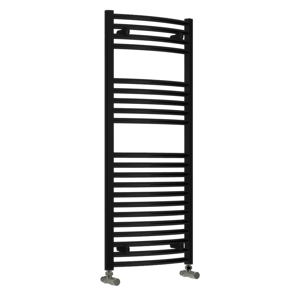 Reina Diva Curved Towel Rail - Black Large Image