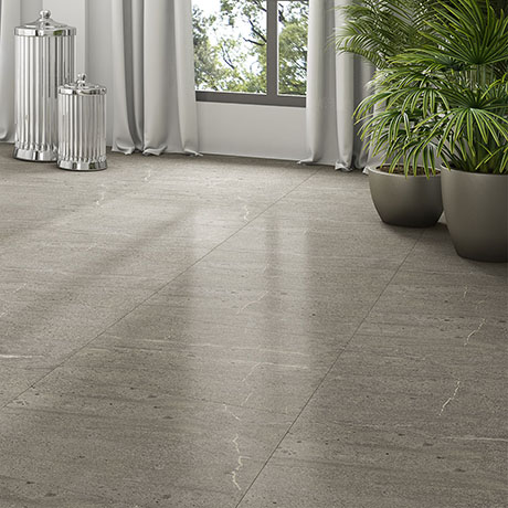 Agrino Dark Grey Stone Effect Wall and Floor Tiles - 600 x 600mm