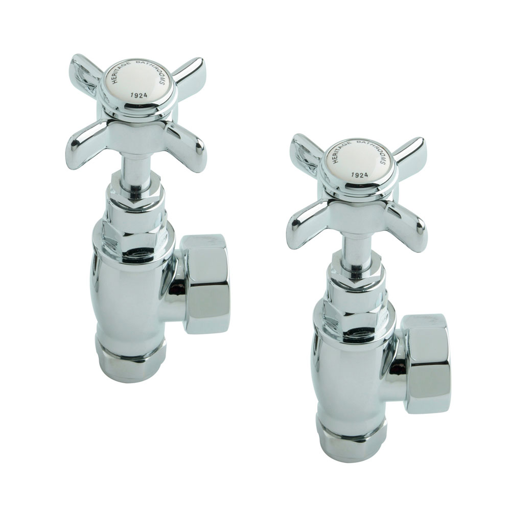 Heritage - Traditional Heated Towel Rail Valves - Chrome - AHC75 Large Image