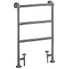 Heritage - Portland Heated Towel Rail with Crosshead Valves - Chrome - AHC76 profile small image view 1