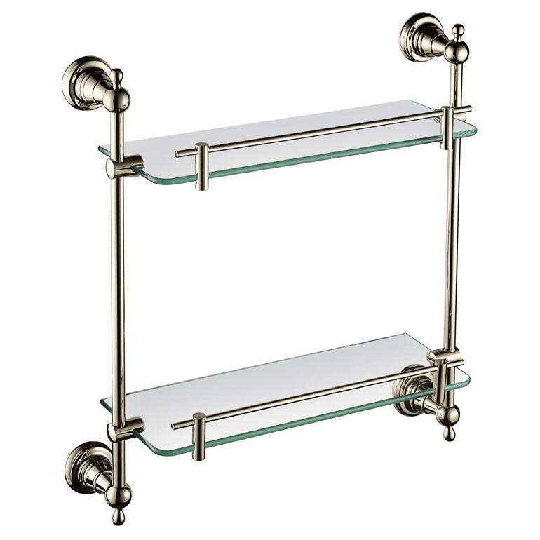 Heritage Holborn Double Glass Shelf - Vintage Gold - AHODGSG Large Image