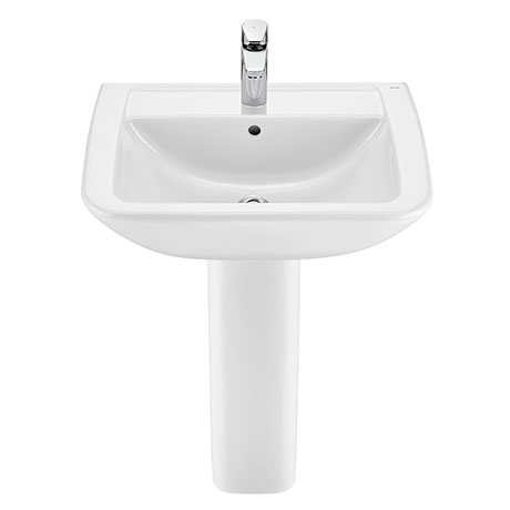 Roca Aire Square 600mm 1TH Basin with Full Pedestal