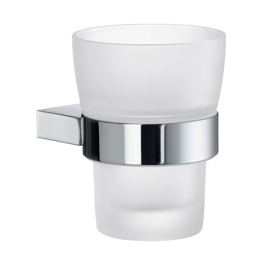 Smedbo Air Holder with Frosted Glass Tumbler - Polished Chrome - AK343 Large Image