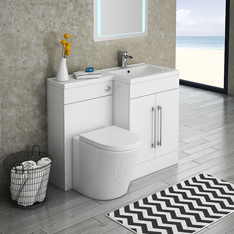 Valencia 1100mm Combination Bathroom Suite Unit with Basin + Solace Toilet