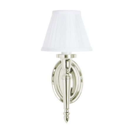 Arcade Wall Light with Oval Base and White Fine Pleated Shade - Nickel