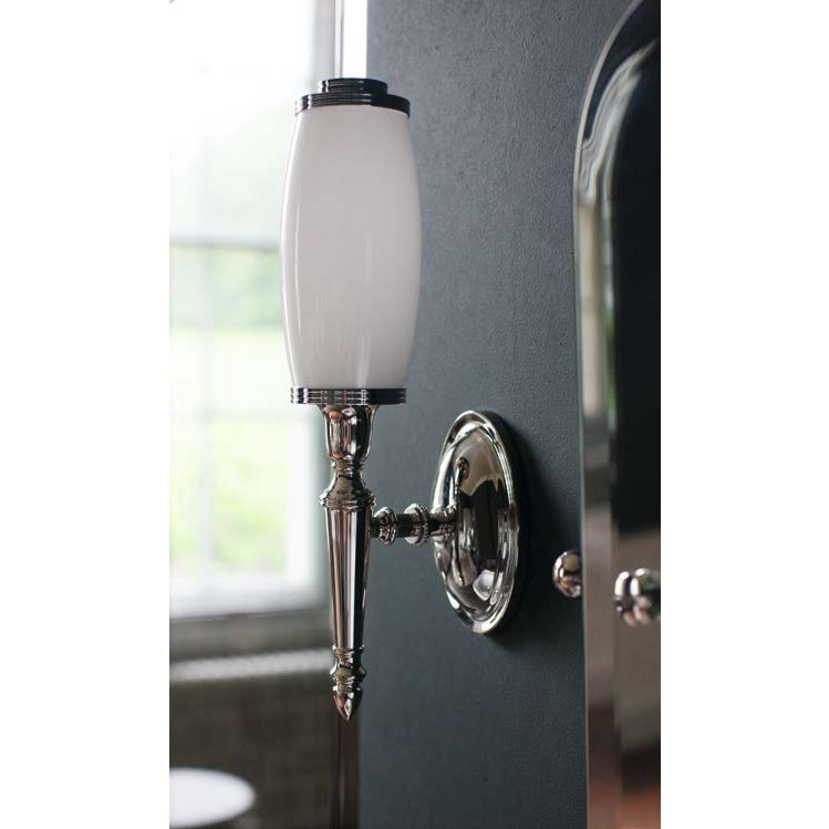 Arcade Wall Light with Oval Base and Tube Frosted Glass Shade - Nickel Profile Large Image