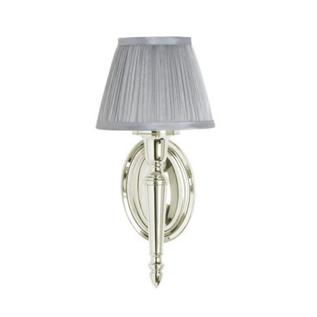 Arcade Wall Light with Oval Base and Silver Chiffon Shade - Nickel