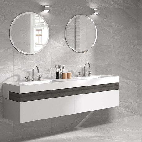 Alaric Light Grey Stone Effect Wall & Floor Tiles - 300 x 600mm