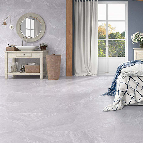 Alaric Light Grey Stone Effect Tiles Floor Tiles - 600 x 600mm