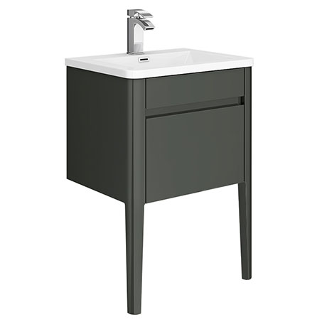 Alassio 600 Gloss Grey Wall Hung 1 Drawer Vanity Unit with Legs