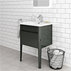 Alassio 600 Gloss Grey Wall Hung 1 Drawer Vanity Unit with Legs profile small image view 1