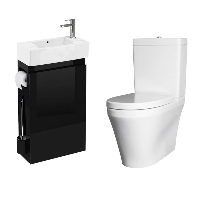 Allinone Black Vanity Unit With Wc Brush Toilet Paper Holder And