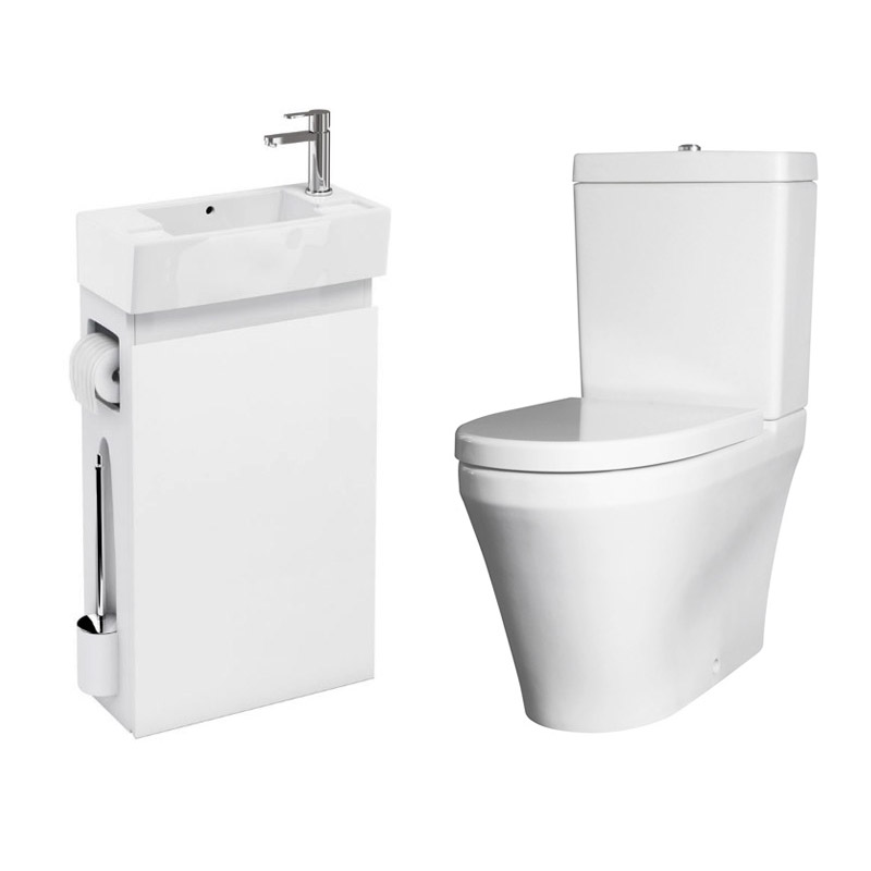 Allinone White Vanity Unit With Wc Brush Toilet Paper Holder And