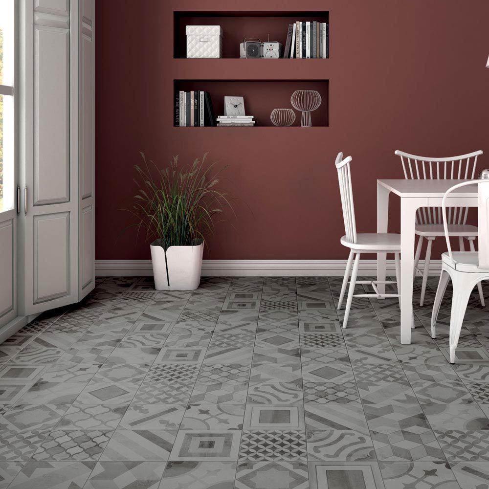 Almada Grey Rustic Floor Tile - 450 x 450mm  Feature Large Image