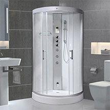 AquaLusso - Alto 80 - 800 x 800mm Quadrant Steam Shower - Polar White Medium Image