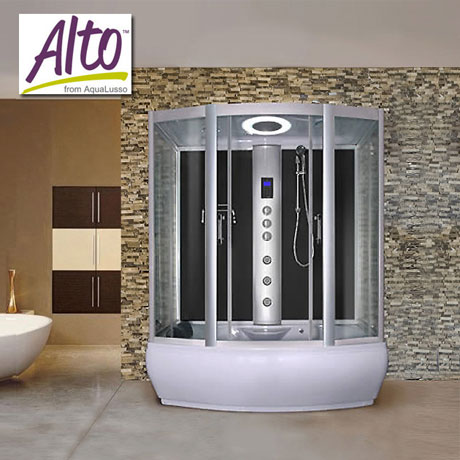 AquaLusso - Alto W3 - 1700 x 900mm Steam and Whirlpool Bath - Carbon Black