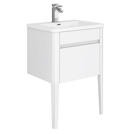 Alassio 600 Gloss White Wall Hung 1 Drawer Vanity Unit with Legs