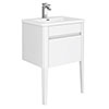 Alassio 600 Gloss White Wall Hung 1 Drawer Vanity Unit with Legs profile small image view 1