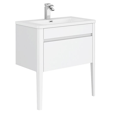 Alassio 800 Gloss White Wall Hung 1 Drawer Vanity Unit with Legs