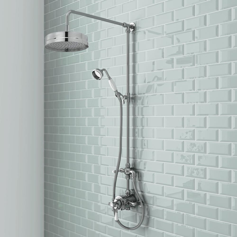 Premier Traditional Luxury Rigid Riser Kit with Diverter & Dual Exposed Shower Valve Standard Large Image