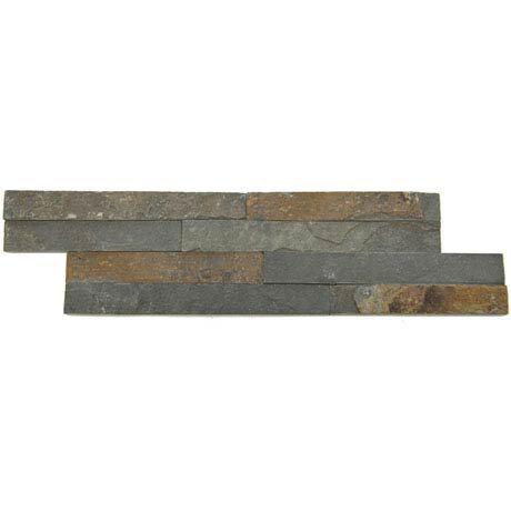 Amaro Rustic Slate Stone Cladding Panels - 400 x 100mm