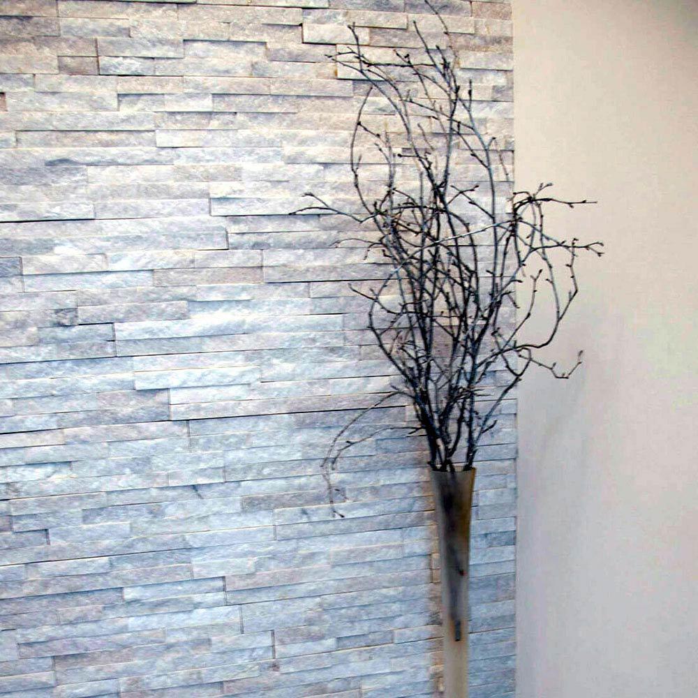 Amaro White Quartz Stone Cladding Panels - 400 x 100mm  Profile Large Image