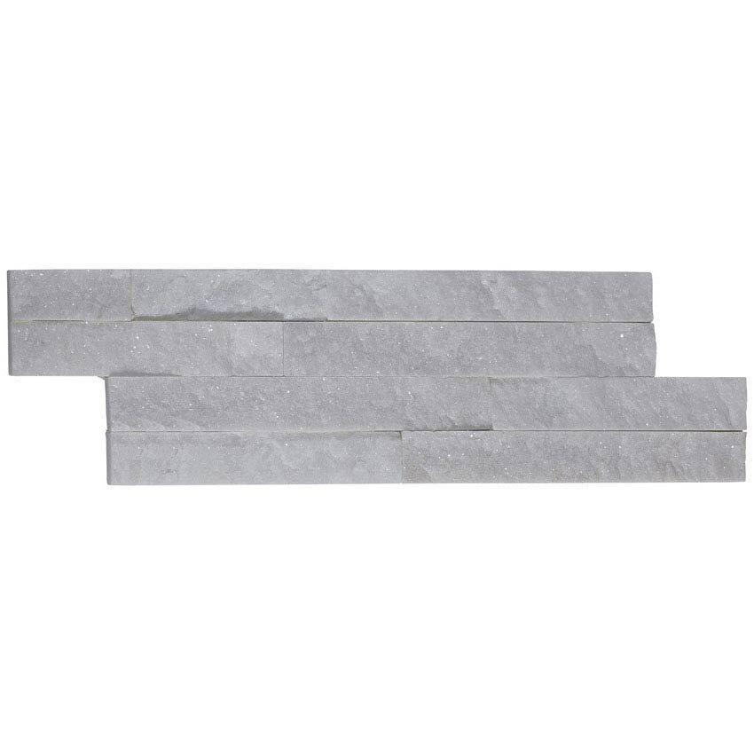 Amaro White Quartz Stone Cladding Panels - 400 x 100mm Large Image