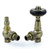 Amberley Thermostatic Angled Radiator Valves - Antique Brass profile small image view 1