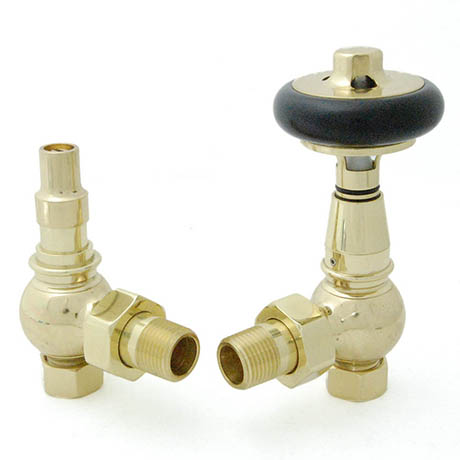 Amberley Thermostatic Angled Radiator Valves - Polished Brass