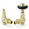 Amberley Thermostatic Angled Radiator Valves - Polished Brass profile small image view 1