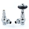 Amberley Thermostatic Angled Radiator Valves - Chrome profile small image view 1