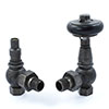 Amberley Thermostatic Angled Radiator Valves - Pewter profile small image view 1