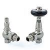 Amberley Thermostatic Angled Radiator Valves - Satin Nickel profile small image view 1