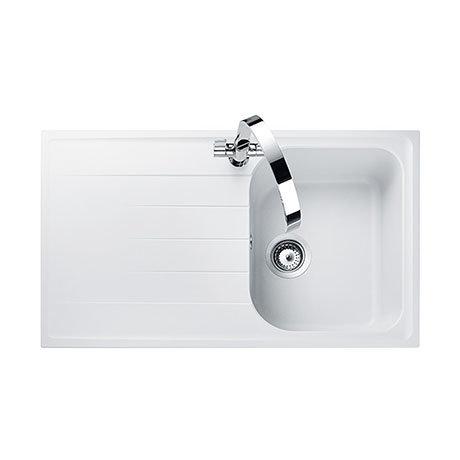 Rangemaster Amethyst 860 x 500mm Igneous Crystal White 1.0 Bowl Inset Sink - AME860CW