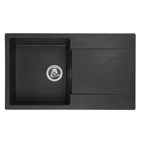 Reginox Amsterdam 10 1.0 Bowl Granite Kitchen Sink - Black Silvery