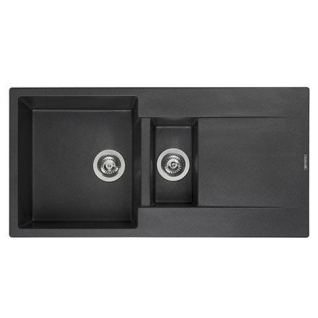 Reginox Amsterdam 15 1.5 Bowl Granite Kitchen Sink - Black Silvery