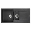 Reginox Amsterdam 15 1.5 Bowl Granite Kitchen Sink - Black Silvery profile small image view 1