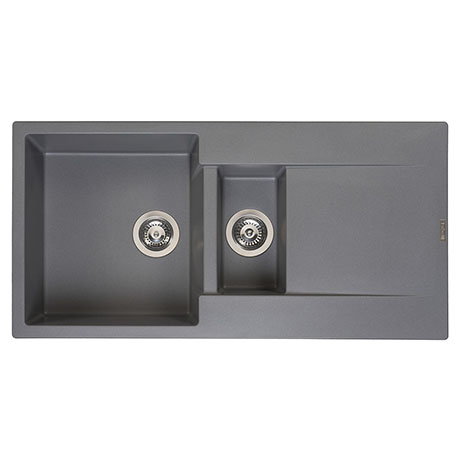 Reginox Amsterdam 15 1.5 Bowl Granite Kitchen Sink - Grey Silvery