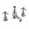 Burlington Anglesey Black 3TH Basin Mixer with Pop-up Waste profile small image view 1