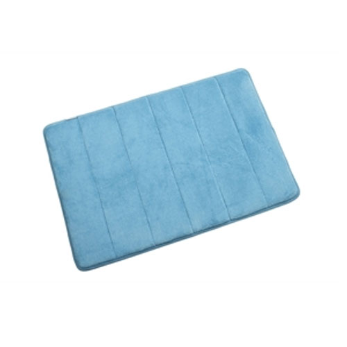 Croydex - Small Memory Foam Textile Bathroom Mat - 600 x 400mm - Blue - AN600124 Large Image