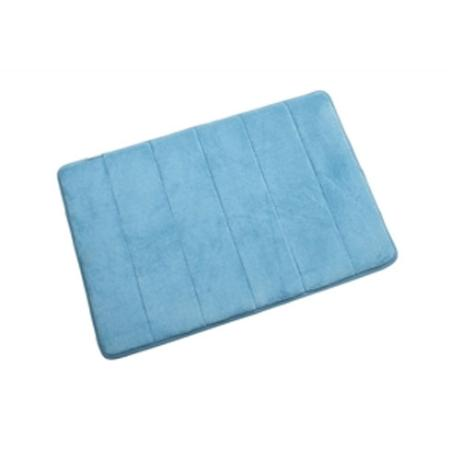 Croydex - Small Memory Foam Textile Bathroom Mat - 600 x 400mm - Blue - AN600124