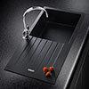 Rangemaster Andesite Ash Black 1.0 Bowl Igneous Granite Kitchen Sink profile small image view 1