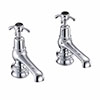 "Burlington Anglesey Regent Black Basin Taps 5"" profile small image view 1"
