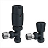 Apollo Modern Anthracite Angled Thermostatic Radiator Valves profile small image view 1