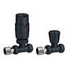 Apollo Modern Anthracite Straight Thermostatic Radiator Valves profile small image view 1