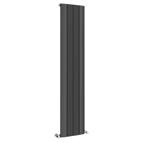 Toronto Aluminium Anthracite 1800 x 375mm Tall Vertical Radiator - 4 Sections