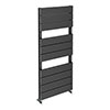 Quebec Aluminium Anthracite 1150 x 500mm Vertical Radiator - 10 Sections profile small image view 1